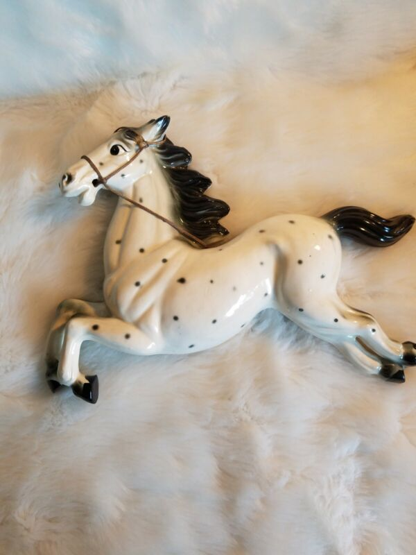 Vintage Ceramic Horse Wall Hanging White Black Dots Harness Japan   D