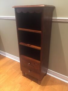 Bookcase- Walnut -3 Shelves , 2 Drawers - Vintage Style