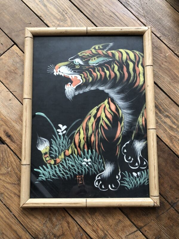 1960s Antique Vintage Vietnam Silk Painting Tiger Art Handpainted