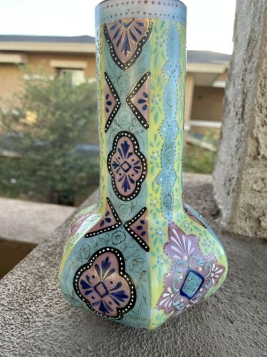 Antique Thomas Webb Moroccan Garden Pattern Hand Enameled Glass Vase Opalesque - $199.99