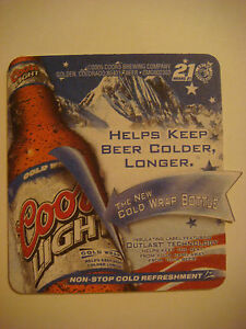 2005 Beer Coaster Mat Coors Light New Cold Wrap Bottle