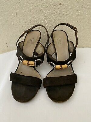 Vintage Gucci Brown Fabric Canvas Bamboo Horsebit Sandal Pump Heel Women Sz 37.5