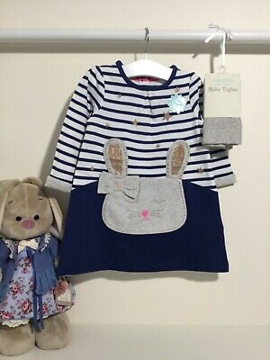 2tlg Kleid Strumpfhose Monsoon Hase Ostern Outfit Mädchen - Baby Ostern Outfits