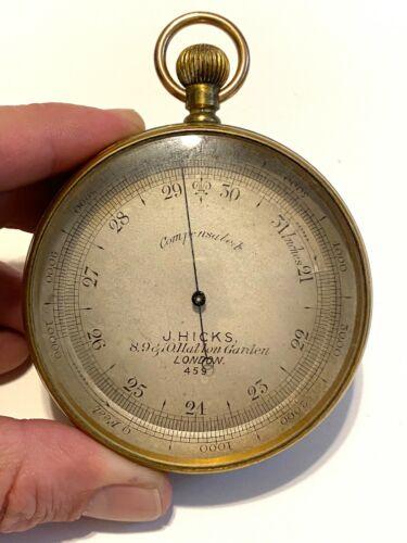 Antique Pocket Barometer Rotating Altimeter Brass J Hicks London 459 Compensated