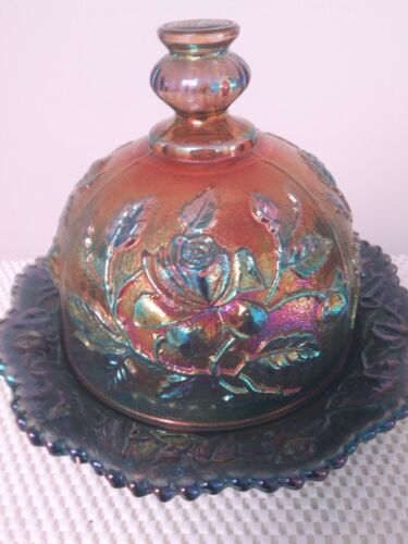 IMPERIAL IRIDESCENT GLASS COVERED BUTTER/CHEESE DISH & DOME
