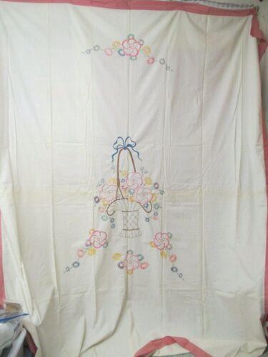 Vintage Summer Coverlet Quilt hand padded Embroidered Basket Flowers pink Border