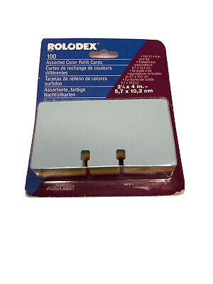 Vintage Rolodex Refill Cards 100 File Pastel Blue Pink Yellow 2 14 X 4