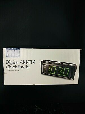 NEW Insignia AM / FM Clock Radio W/ Large Led Display NS-CLOPP2 Black Dual Alarm
