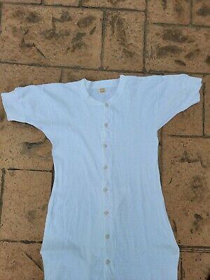 1940s Men's Shirts, Sweaters, Vests Vintage 1940s Hanes Union Suit Short Sleeve Size 40 $55.00 AT vintagedancer.com