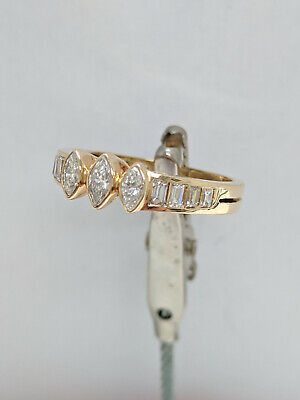 Diamond Band in 14kt yellow gold with baguette and marquise diamonds
