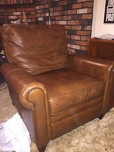 Recliner real leather chair