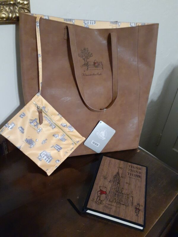 Disney WINNIE THE POOH FAUX SUEDE TOTE BAG Journal Christopher Robin Live Action