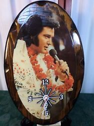 Unique Pictures Elvis Oval Wooden Battery Operated Wall Mount Clock