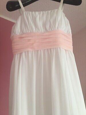 Mädchen Designer Blumenmädchen Kleid aus der USA Gr.147-150  Weiß/rosa - Designer Blumen-mädchen-kleider