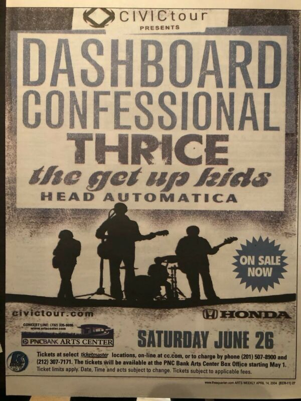 DASHBOARD CONFESSIONAL 3 pc concert ad lot.. New York/New Jersey