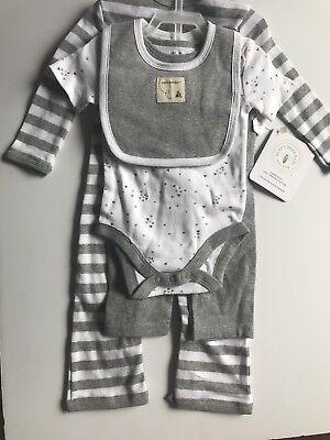 Burts Bees Baby Unisex Gray Striped 4 piece set 100% Cotton 3-6 Months