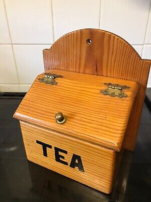 vintage wooden Wall Hanging tea caddy
