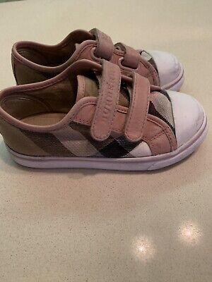 SALE BURBERRY Pink Leather Nova Check Canvas Stick Strap Girls SlipOn Sneaker (Burberry Kids Sale)