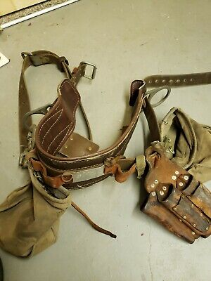 Vintage Buckingham Utility Lineman Climbing Belt W Bags Leather Tool Holster
