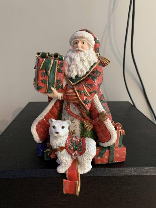FITZ AND FLOYD Christmas Tidings SANTA STOCKING HOLDER CHRISTMAS HEAVY