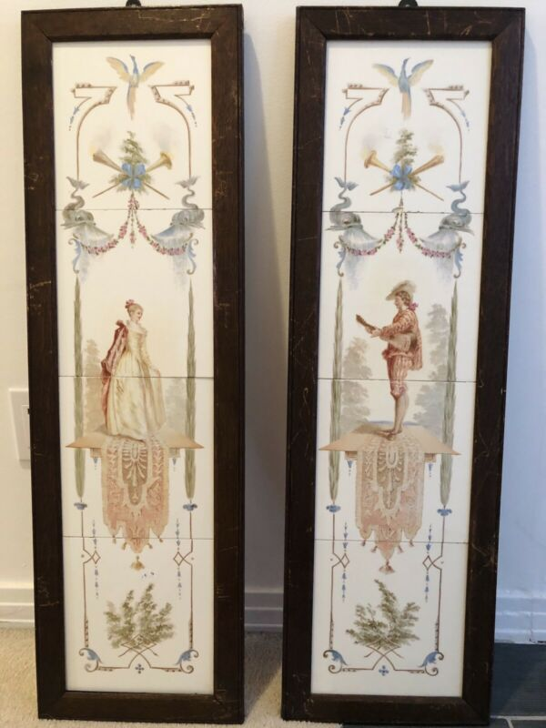 Antique Pair Set Victorian Aesthetic Fireplace Tiles Watteau Mural Hand Painted