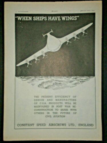 1943 FUTURE AIRPLANE FUTURISTIC PLANE C.S.A. WWII vintage Trade art print ad
