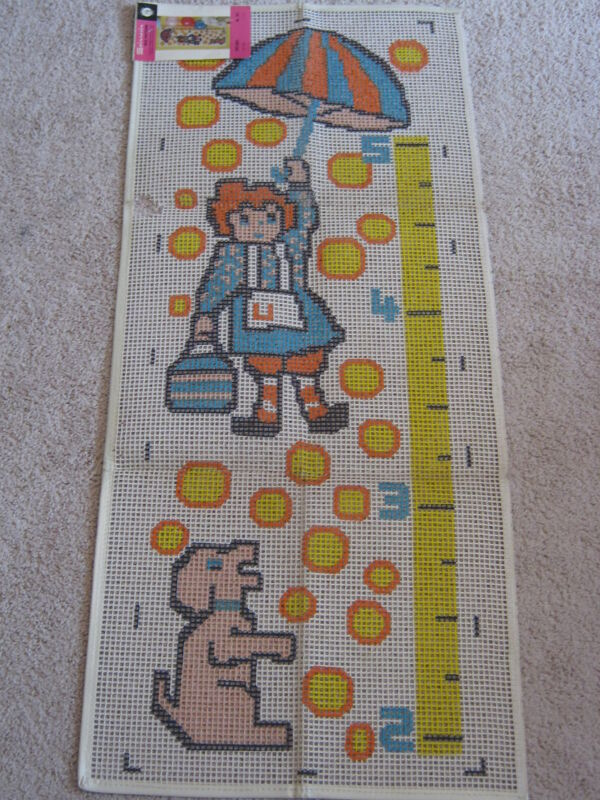 """Vintage Latch Hook Rug Canvas by Spinnerin UPSY DAISY GROWTH CHART 301 18""""x48"""""""