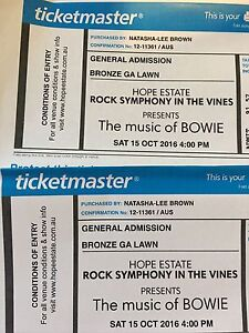 Bowie tickets -Hope Estate Gen Admission Newcastle Newcastle Area Preview