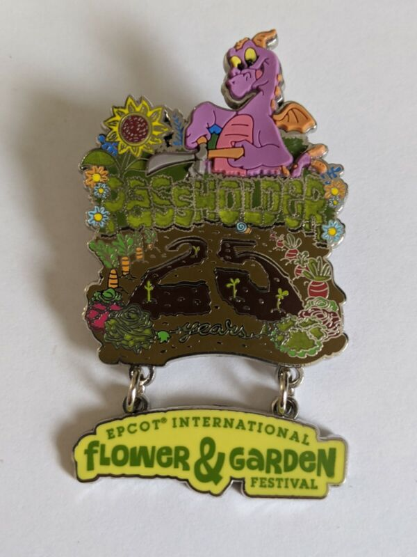 Figment Epcot Flower And Garden Festival 25th Anniversary LE Passholder Pin