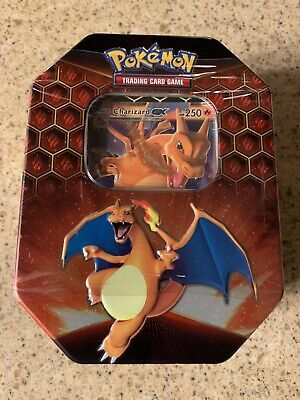 Pokemon Hidden Fates GX Tin-Charizard Cards & 4 Booster Pack Sealed.*Brand New*