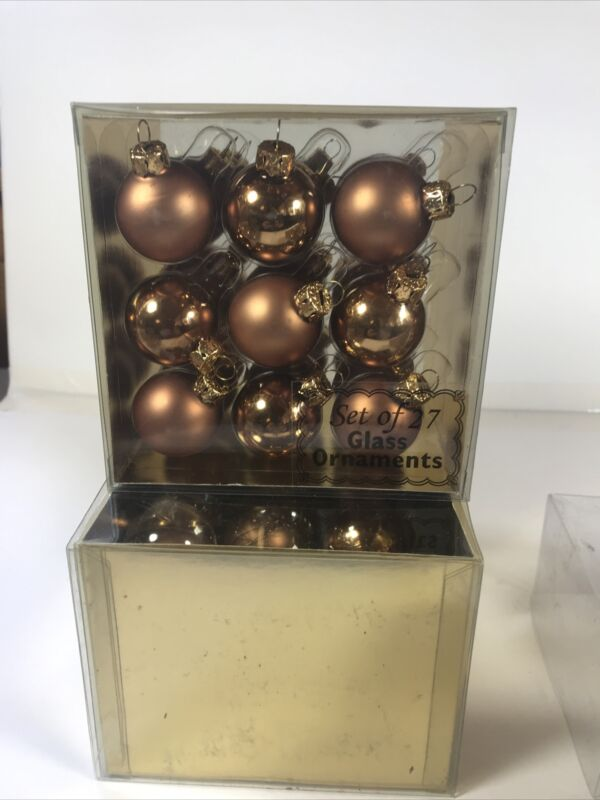 Mini Glass Christmas Ornaments 2 Boxes Of 27 Each Gold/bronze