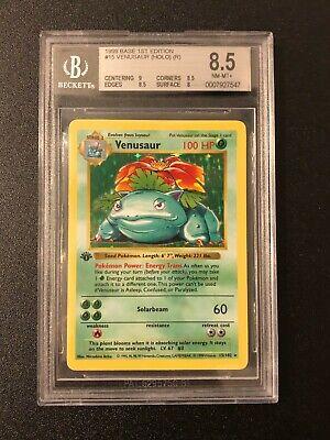 1999 Pokemon 1st Edition Base Set Shadowless Holo Venusaur #15 BGS 8.5 PSA 9