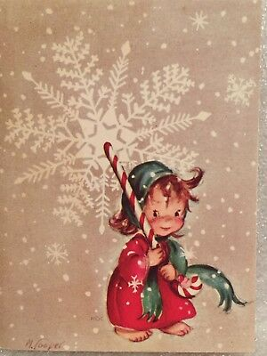 Used, Vintage 1949 Rust Craft Christmas Card Girl Large Candy Cane Marjorie Cooper for sale  Shipping to Canada