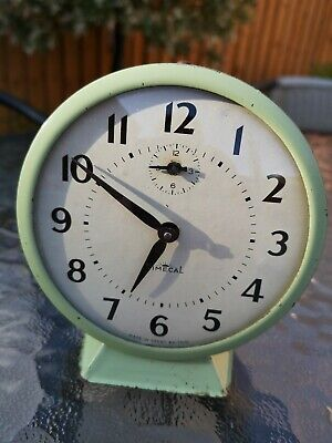 Smiths Timecal Green Enamel Wind Up Alarm Clock. Fully Working 1950-60's