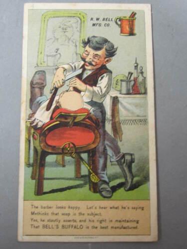 BARBER SHAVES IN SHOP Victorian TRADE CARD French Villa soap BUFFALO NY