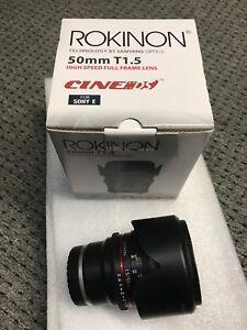 Sony E-mount Rokinon 50mm T1.5 cinema lens NEW