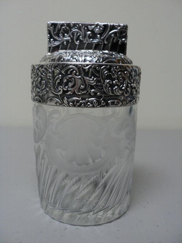 19th C. CRYSTAL DRESSER JAR w/ ETCHED DESIGN & CHASED STERLING SILVER DECORATION