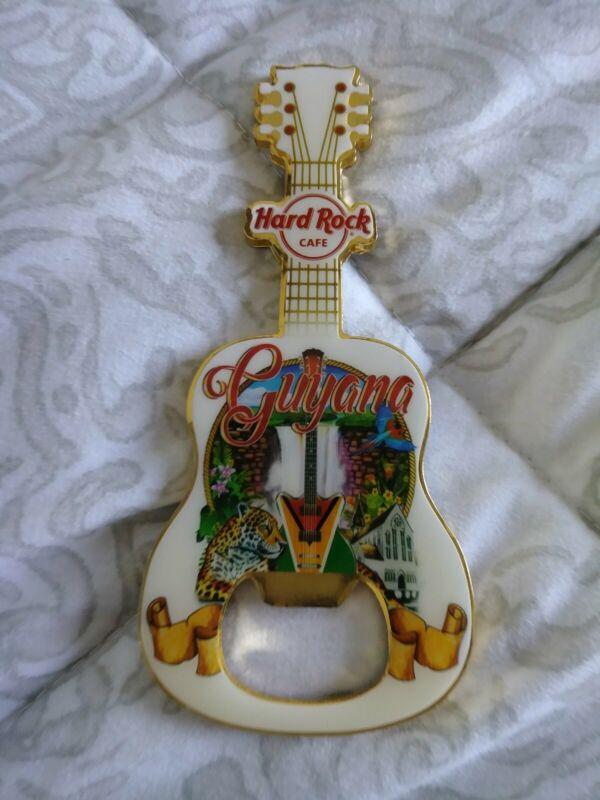 Hard Rock Cafe Guyana Acoustic City Tee Guitar Bottle Opener Magnet