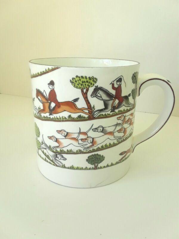 Crown Staffordshire Bone China Fox Hunting Scene Jumbo Pint Coffee Mug RARE