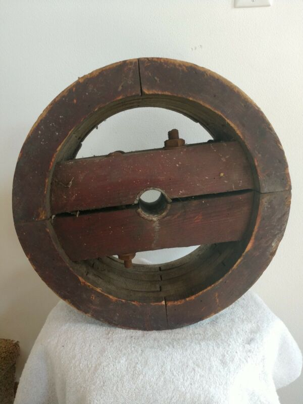 """Antique Primitive Wooden 14.5"""" Steampunk Mill Industrial Wooden pulley"""