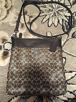 COACH SIGNATURE COATED CANVAS NORTH SOUTH SWINGPACK CROSSBODY BROWN 52400 CUTE