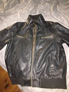 Brown leather guess jacket