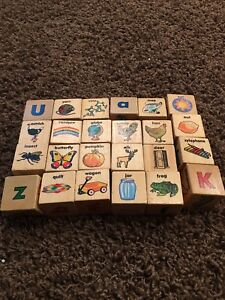 Wooden alphabet picture blocks