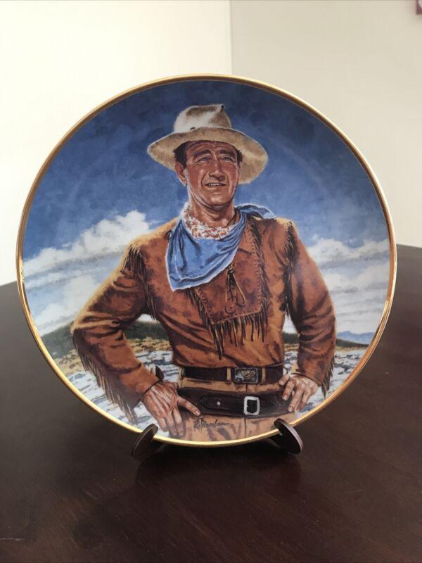 JOHN WAYNE Collector Plate 24 K gold Franklin Mint