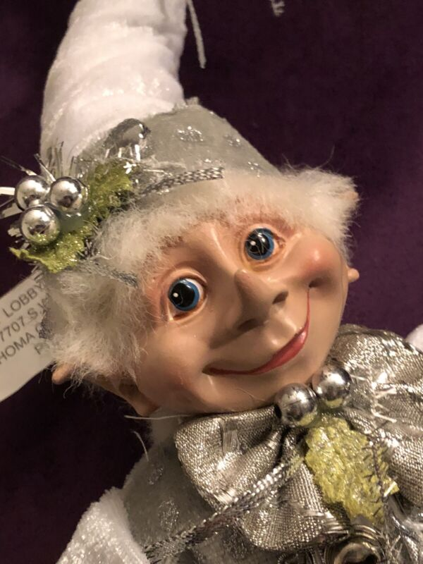 "NEW CHRISTMAS PIXIE ELF 18"" DECORATIVE WIREFRAME DOLL JACK FROST  ""WHITE VEST"""