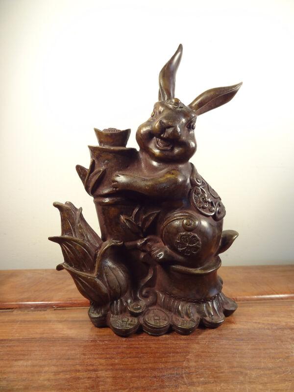 Old Bronze Rabbit Statue