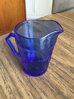 Hazel Atlas cobalt blue Shirley temple promotion milk pitcher 1930's