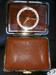 Vintage BULOVA Mechanical Watch With an Alarm Clocks in a tan travel Box Works