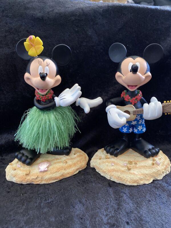 Disney Hawaiian Mickey & Minnie Mouse Bobblehead Figurines- Ukulele/Grass Skirt