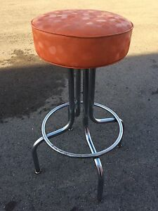 Vintage Orange & Beige Barstools